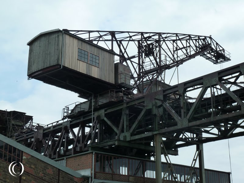 The mobile crane on the crane bridge on top of the crusher house (Brecher haus) - Historisch- Technisches Museum Peenemünde, Germany