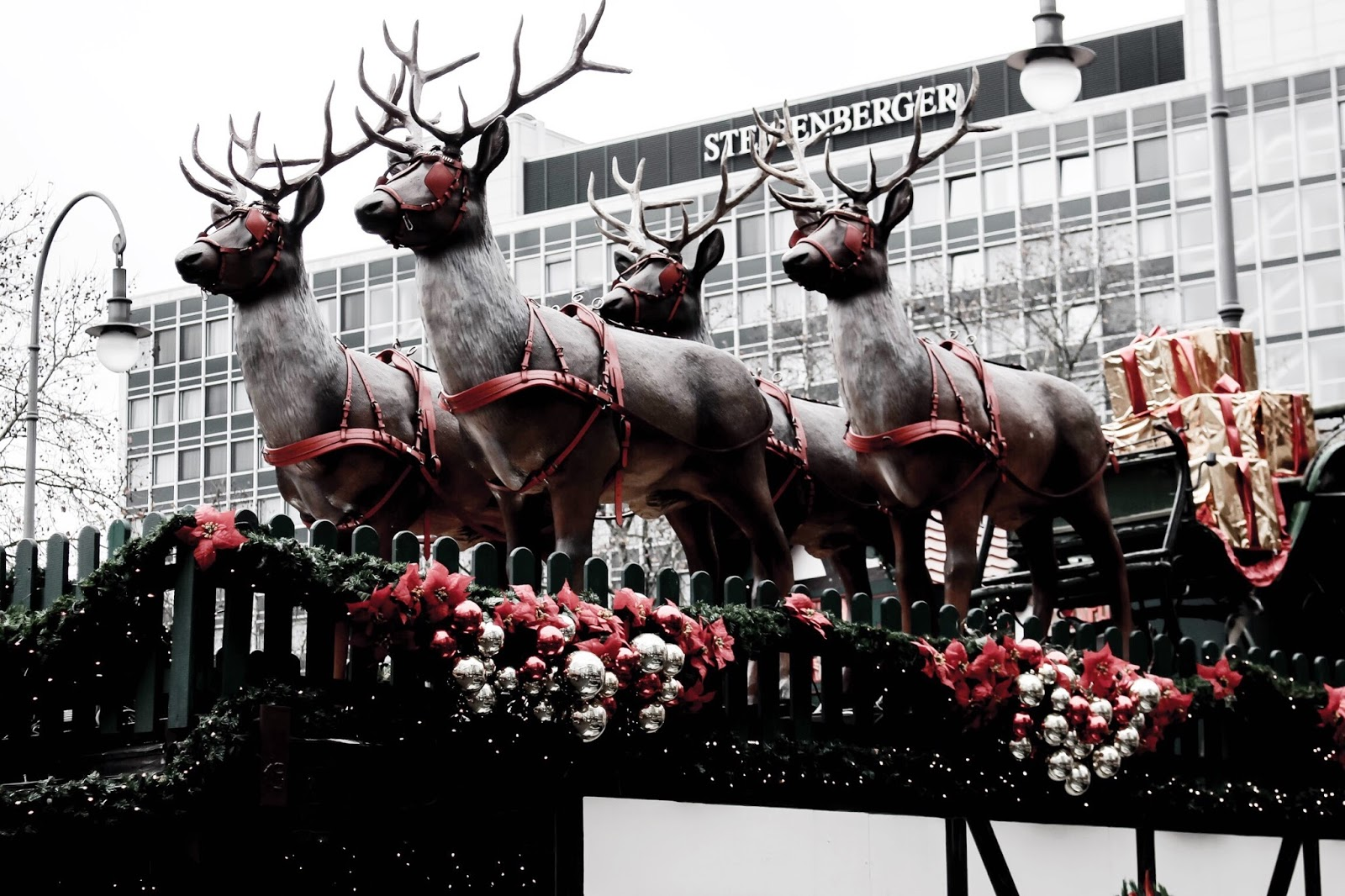 German Christmas Market Reindeers on Roof