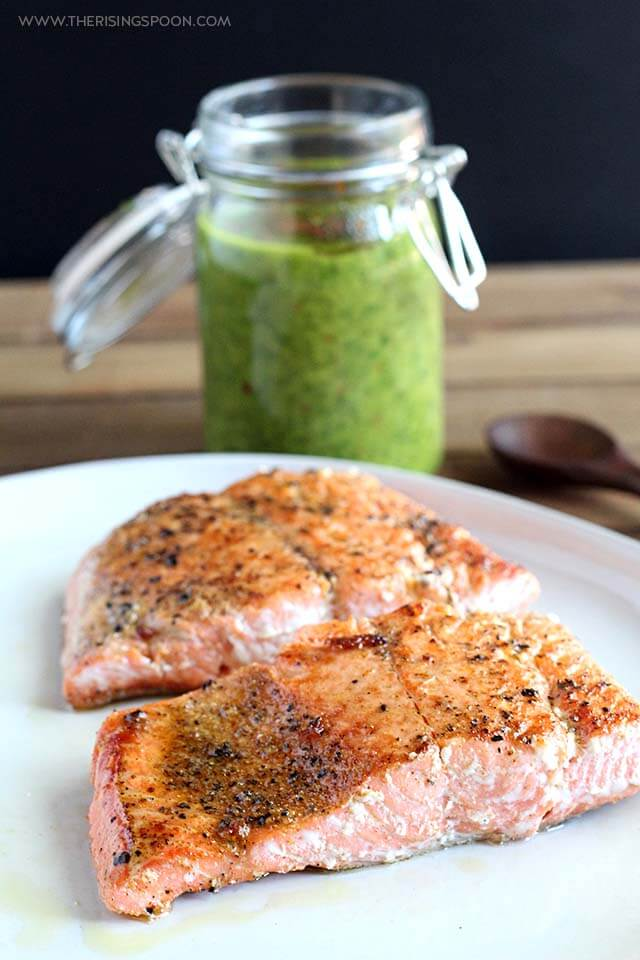 Pan-Seared Salmon Fillets with Chimichurri Sauce (Quick, Whole30 & Keto)