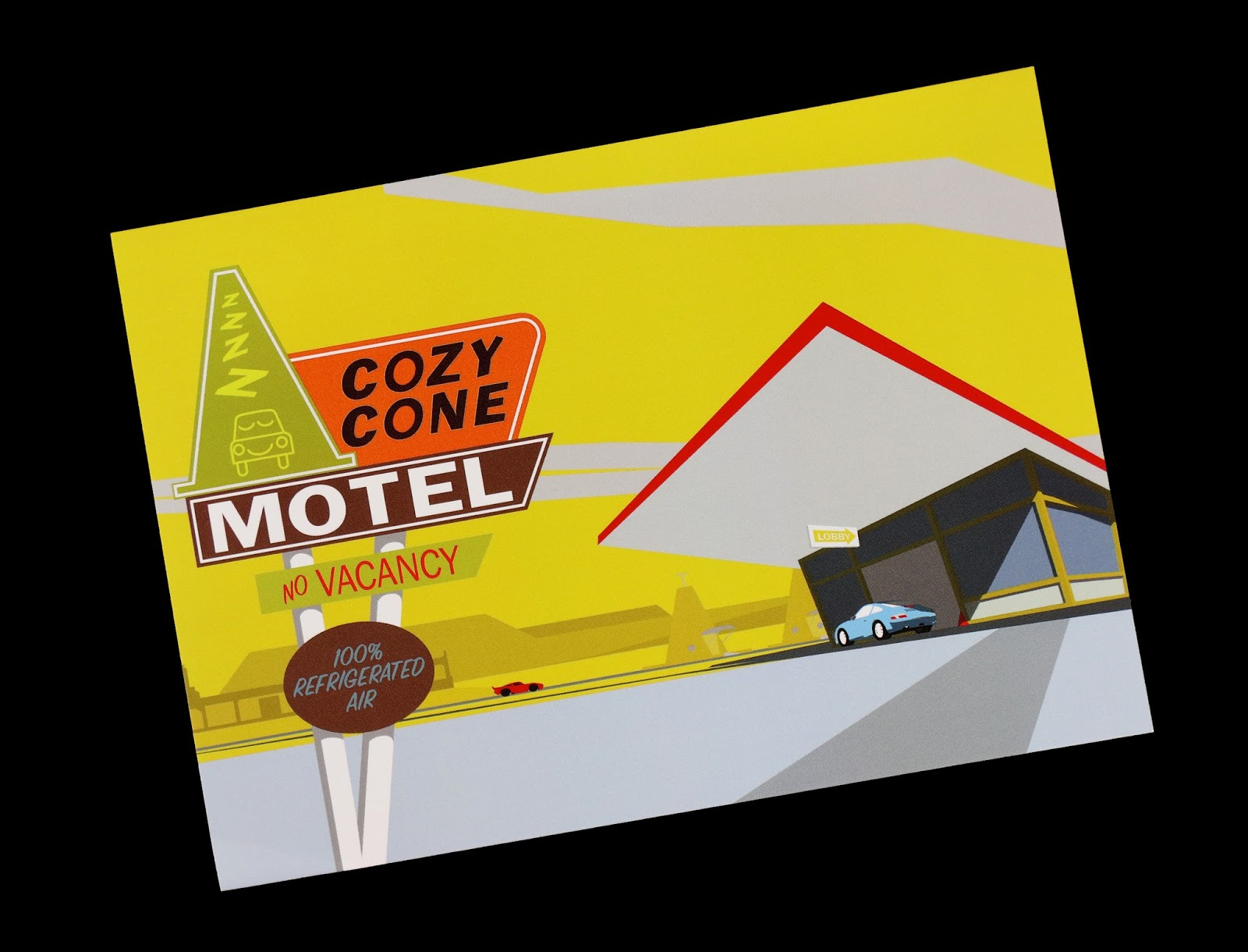 "pixar Cars ""Cozy Cone Arrival"" Art by Michael Murphy"