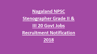Nagaland NPSC Stenographer Grade II & III 20 Govt Jobs Recruitment Notification 2018