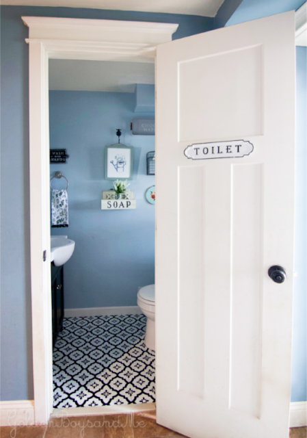 DIY Powder Room Makeover using FloorPop tiles - www.goldenboysandme.com