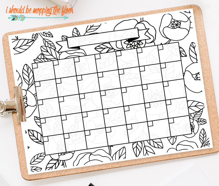 i should be mopping the floor: Free Printable Coloring Calendar