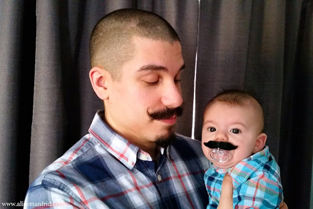 father and son, dad, baby, boy, Halloween, costume, easy costume, mustache, pacifier, plaid shirt, dress-up