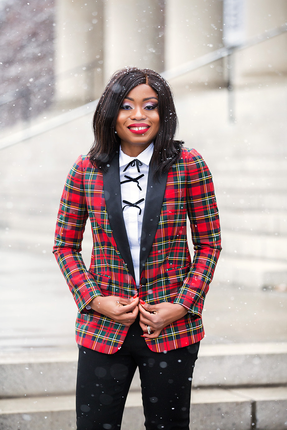 Plaid blazer for holiday style, www.jadore-fashion.com