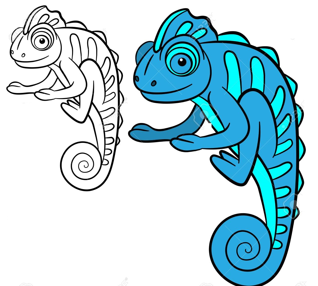 Coloring Page Wild Animals-Color me: iguana - Coloring Page