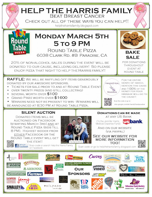 Round Table Pizza Paradise Ca.Help The Harris Family