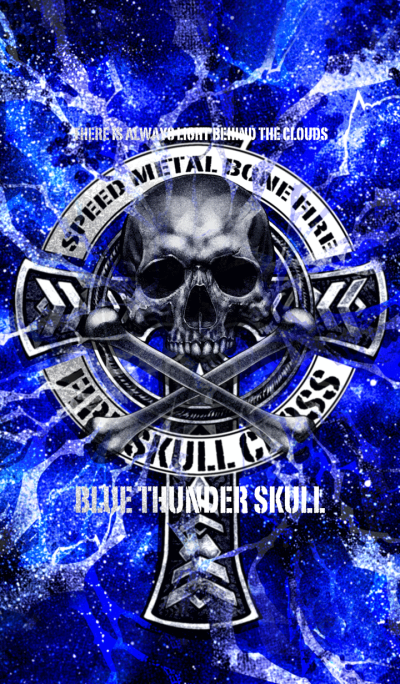 Blue thunder skull cross