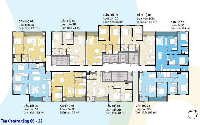 Mặt bằng tầng 06 - 22 tòa Centro dự án Kosmo Tây Hồ