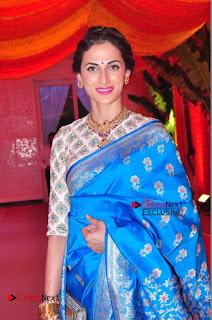Actress Model Shilpa Reddy Exclusive Stills in Blue Saree at Vijay Karan Aashna Wedding  0018.JPG