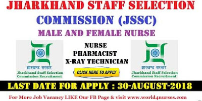 Male and Female Nurse Vacancy in Jharkhand Staff Selection Commission (JSSC)  2018