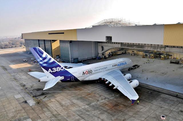 Airbus A380-800 at Heathrow Hangar