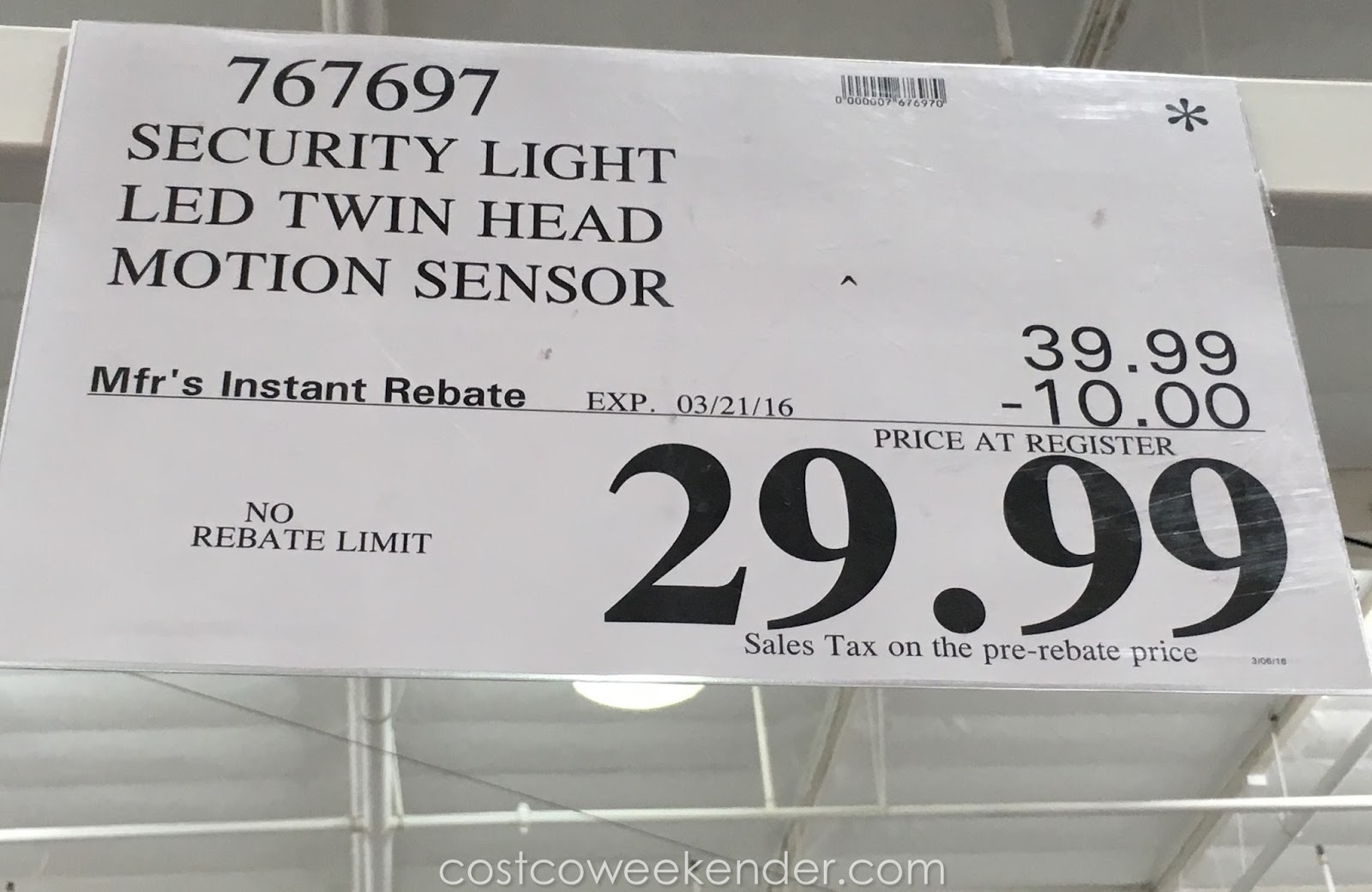 Home zone security motion activated led light costco weekender deal for the home zone security motion activated led light at costco aloadofball Images