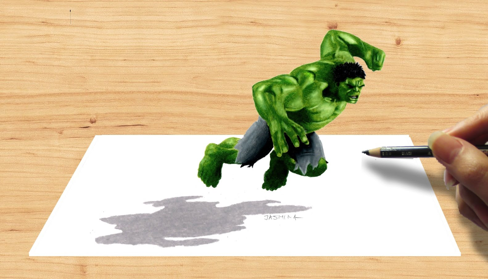 3d pencil drawing hulk avengers age of ultron speed draw