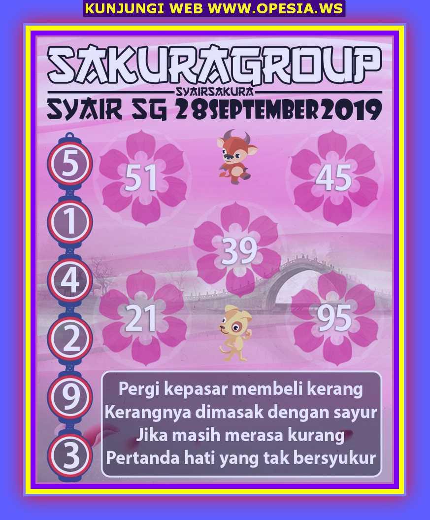 Syair sgp Sabtu 28 September 2019 30