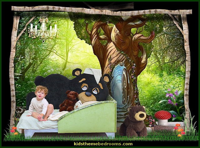 Toddler Teddy Bear Beds and Teddy Bear Headboards     woodland forest theme bedroom ideas - forest fairies decor - woodland fairy room decor -  woodland murals  - woodland animal decorations - forest animals - fairy woodland bedrooms - snow white themed bedroom decorating ideas - magical woodland fairy forest theme bedrooms - Forest themed bedding -  Toddler Teddy Bear Beds - Teddy Bear Headboards