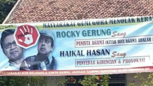 Beredar Spanduk Tolak Rocky Gerung dan Haikal Hasan di Lombok