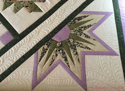 Corner detail - Sampler Quilt made by Pauline,  custom quilted by Frances Meredith at Fabadashery Long Arm Quilting