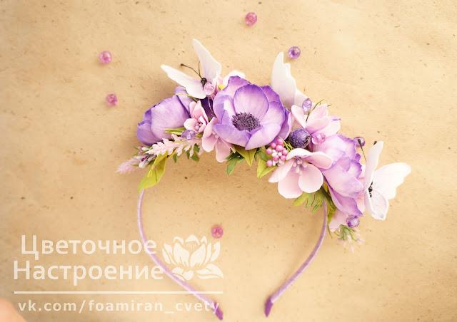 цветы в прическу на ободке