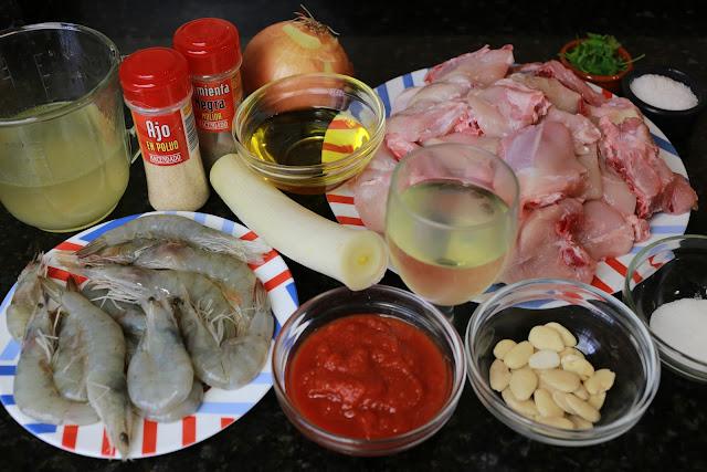 Ingredientes para pollo con langostinos