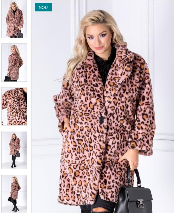 Palton dama scurt gros de iarna roz cu animal print din blana ecologica