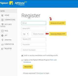 Create Flipkart affiliate program account