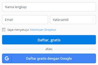cara daftar dropbox mudah