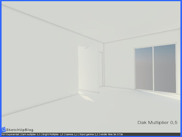 Cara setting HSV Exponential Color Mapping vray sketchup 2.0 - Dark Multiplier 0,5