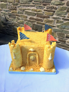 single tier sandcastle birthday cake