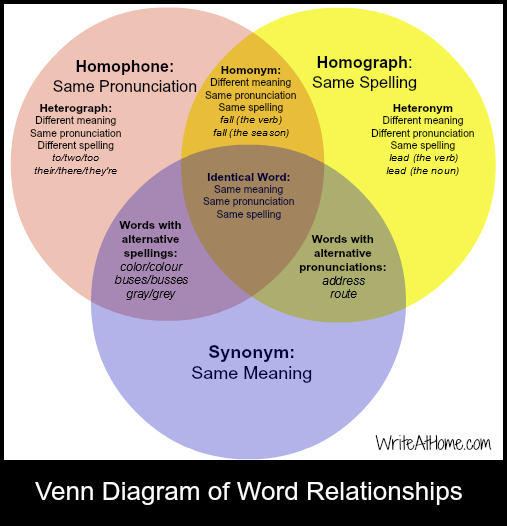 Homonym Homophones And Homographs