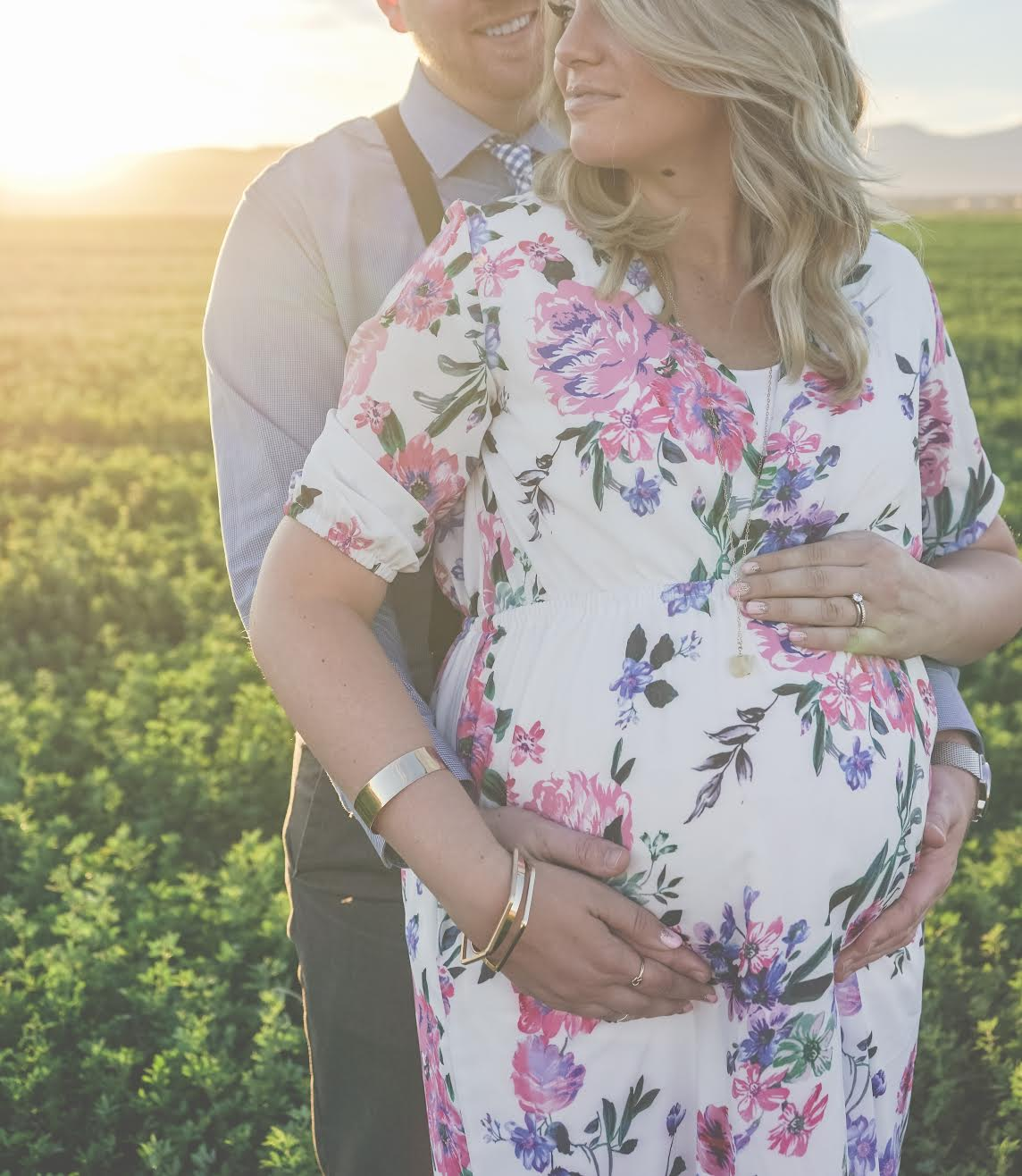 Maternity Photos, Floral Dress, Pregnant Photoshoot