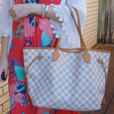 floral maxi dress with Louis Vuitton damier azur MM neverfull tote bag | awayfromtheblue