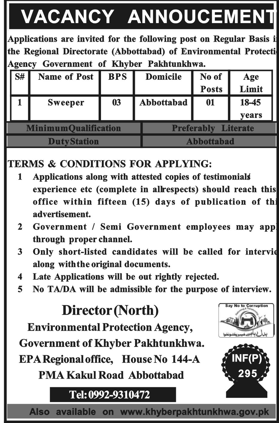 Jobs In Environmental Protection Agency Abbottabad January 2018