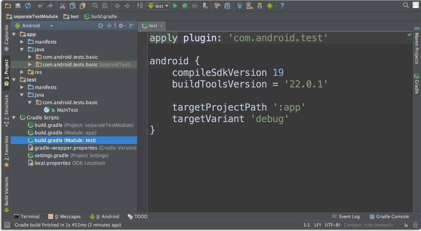 Android developers blog get your hands on android studio 13 comdroidtest instead of keeping your tests right next to your app code this feature does require your app project to use the gradle plugin 13 baditri Image collections