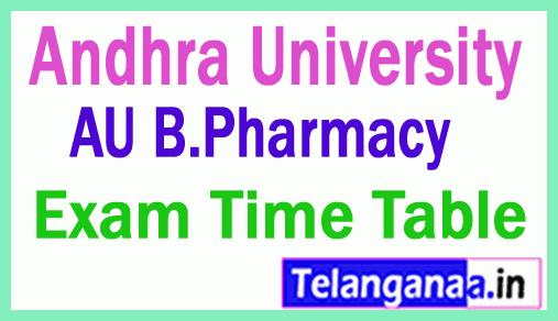 Andhra University AU BPharmacy Exam Time Table