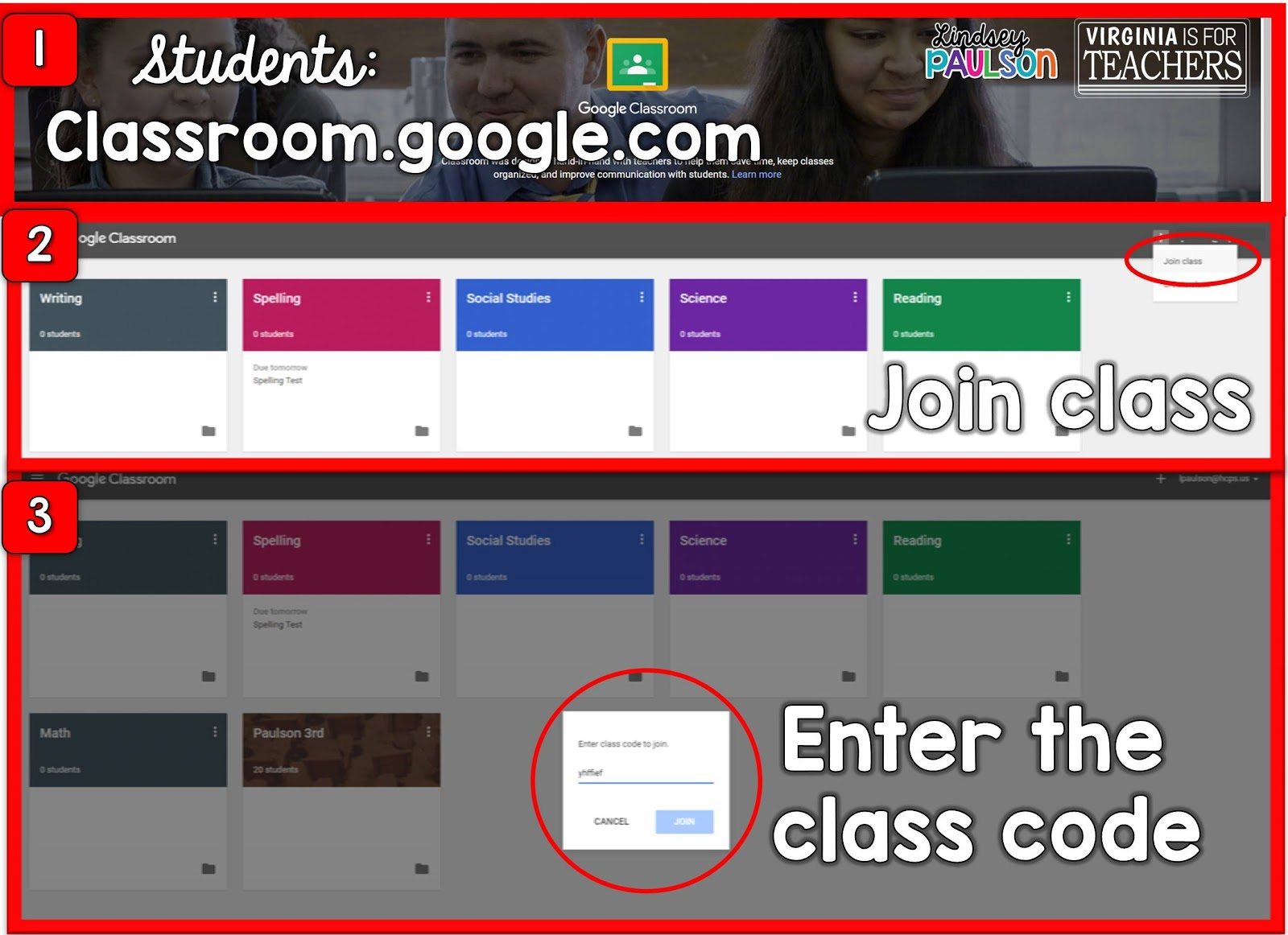 Student directions for how to set up Google Classroom