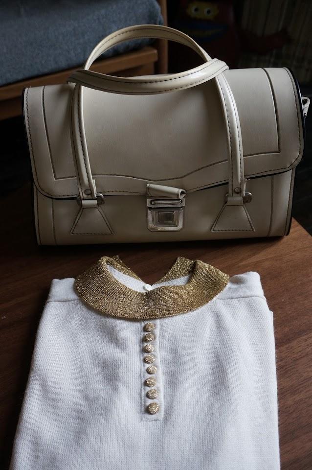 un sac des années 60 et un pull lurex / laine  60s handbag / mod sweater