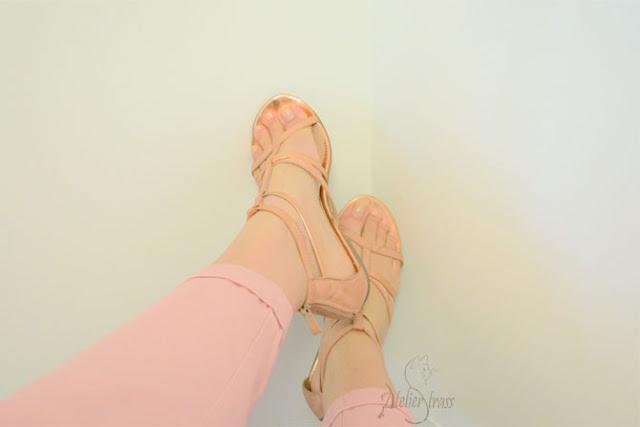 sandalias oro rosa