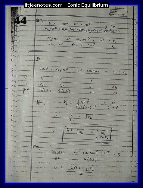 Ionic Equilibrium Notes IITJEE 12
