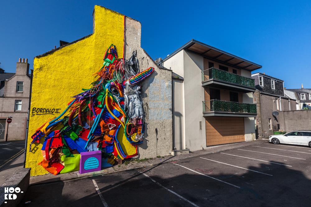 Portuguese Graffiti Artist BORDALO II's Endangered Dreams Unicorn In Aberdeen, Scotland