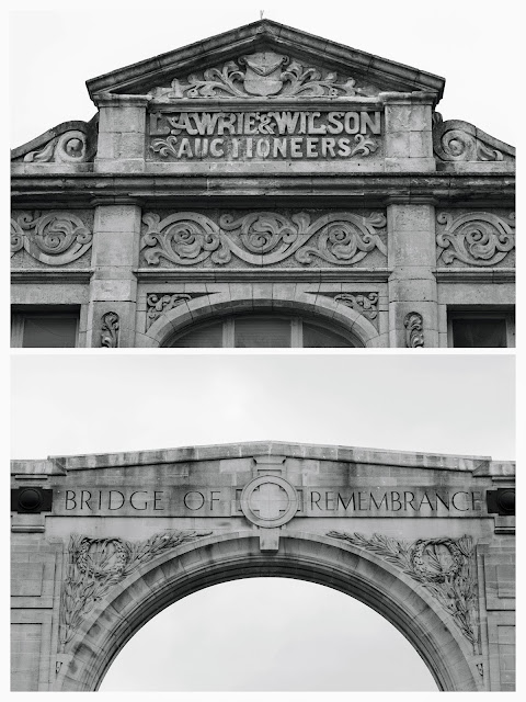 Christchurch after the earthquake in Black and White: Bridge of Remembrance and Lawrie & Wilson Auctioneers