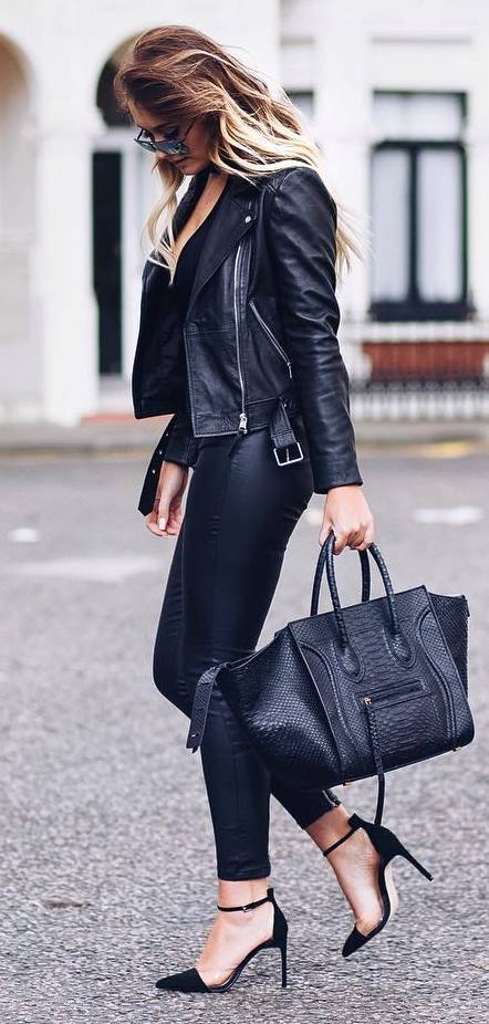 black on black: leather jacket + top + bag + heels + skinny pants