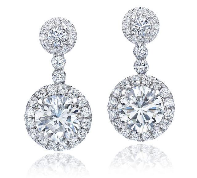 White Gold Diamond Halo Hanging Earrings