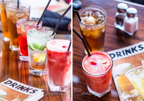 Flavoured Iced Tea, Cherry Limeade, Peach Mojito, Coco-Berry Smoothie, Lychee Iced Tea from Outback Steakhouse
