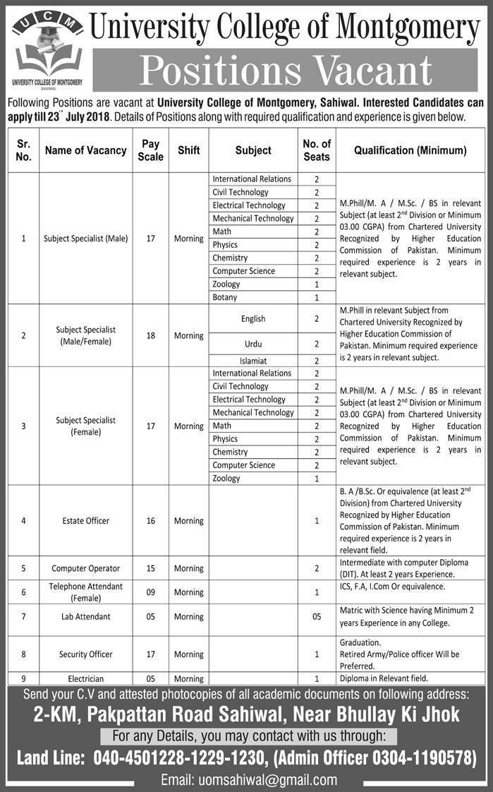 Subject Specialist Teachers Jobs in University College of Montgomery Jobs 2018