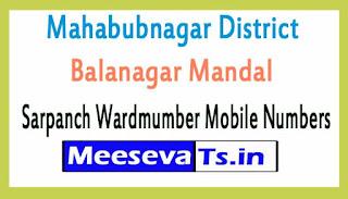 Balanagar Mandal Sarpanch Wardmumber Mobile Numbers List Part II Mahabubnagar District in Telangana State