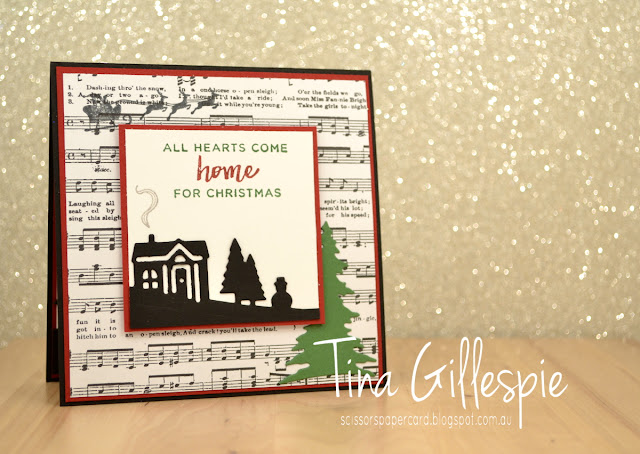 scissorspapercard, Stamping' Up!, Heart Of Christmas, Hearts Come Home, Hometown Greetings Edgelits, Card Front Builder Thinlits, Merry Music SDSP