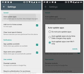 Non aktifkan auto update aplikasi