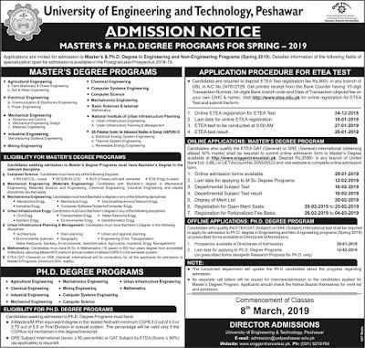 UET Admissions 2019 advertisement