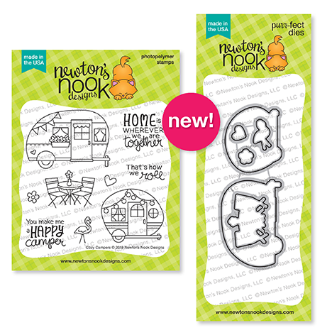 Cozy Campers Stamp and Die Sets by Newton's Nook Designs #newtonsnook